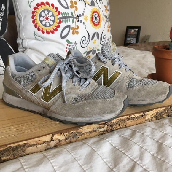 new product 0603b a3df3 New Balance 696 Gold and Grey Sneakers Shoes
